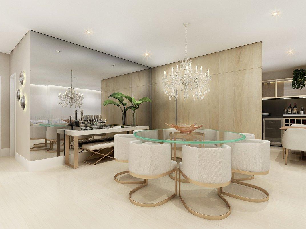 Living integrado com varanda e home office