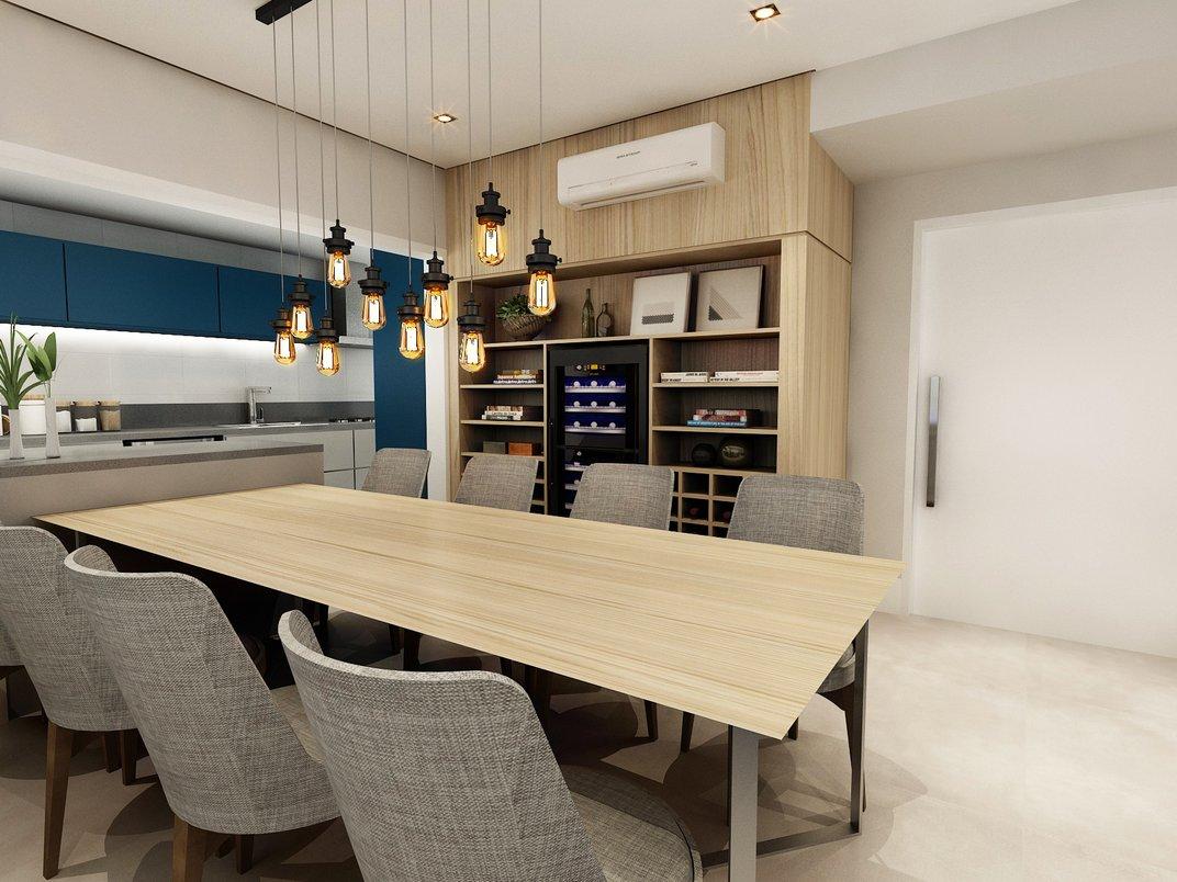 Living integrado com cozinha, com destaque para estante com bar e adega