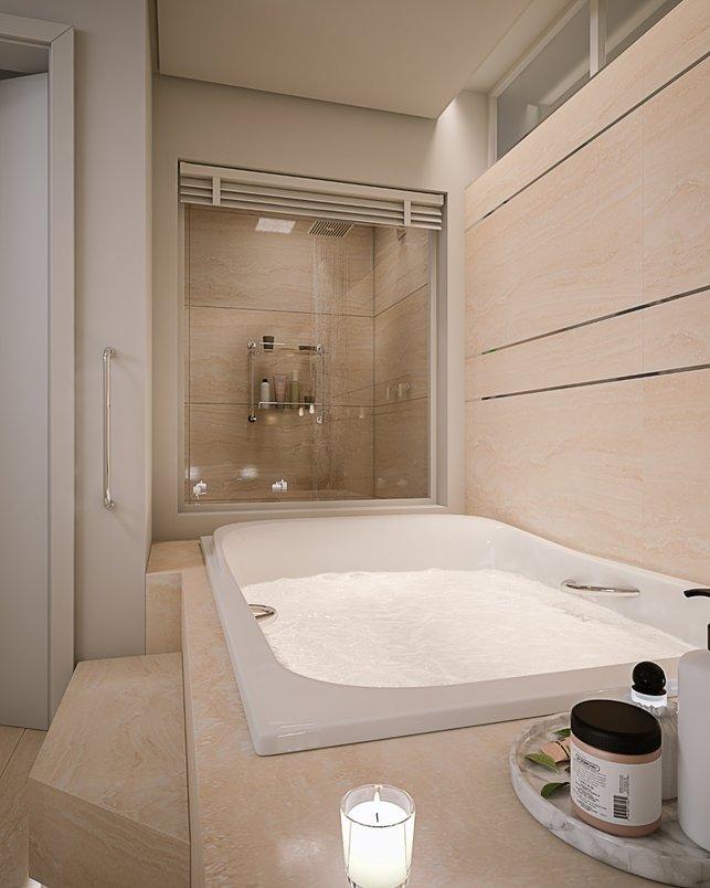 Espaços de banho integrados com controle de privacidade (persiana)