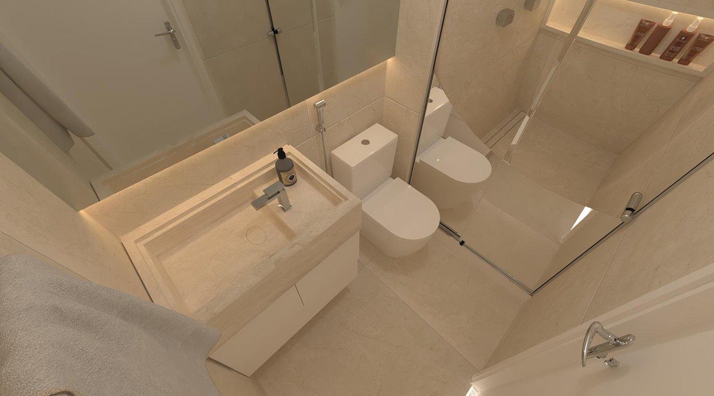 Sala de banho revestida com porcelanato Beige Versailles, bancada Sonatta , metais Docol e ralo linear Ralo Royal Line tampa oculta 131 80cm