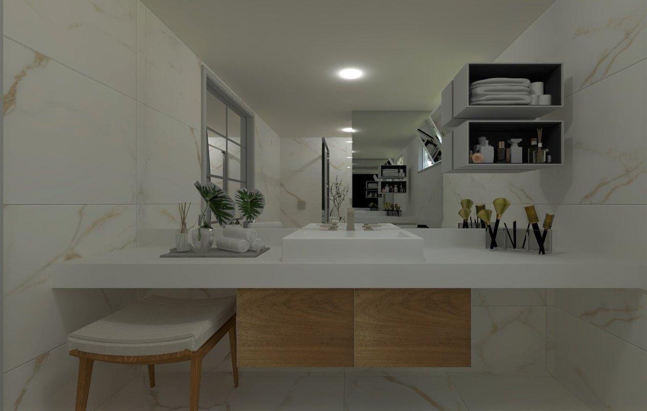 Uma sala de banho revestida com todo o requinte da Linha Oro Bianco