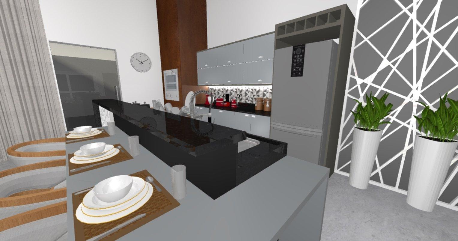 Projeto de cozinha gourmet para area compartilhada