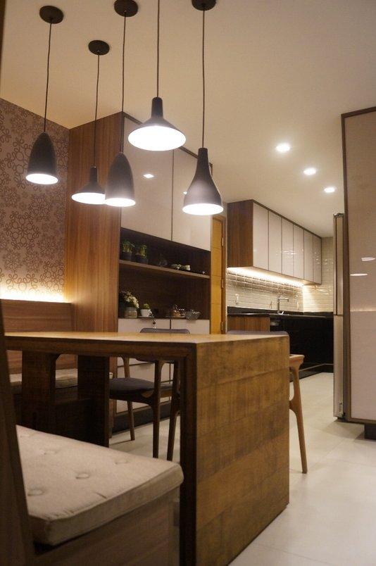 Cozinha utilizando os produtos Pietra di Firenze off white 60x120 e Liverpool concreto aparente