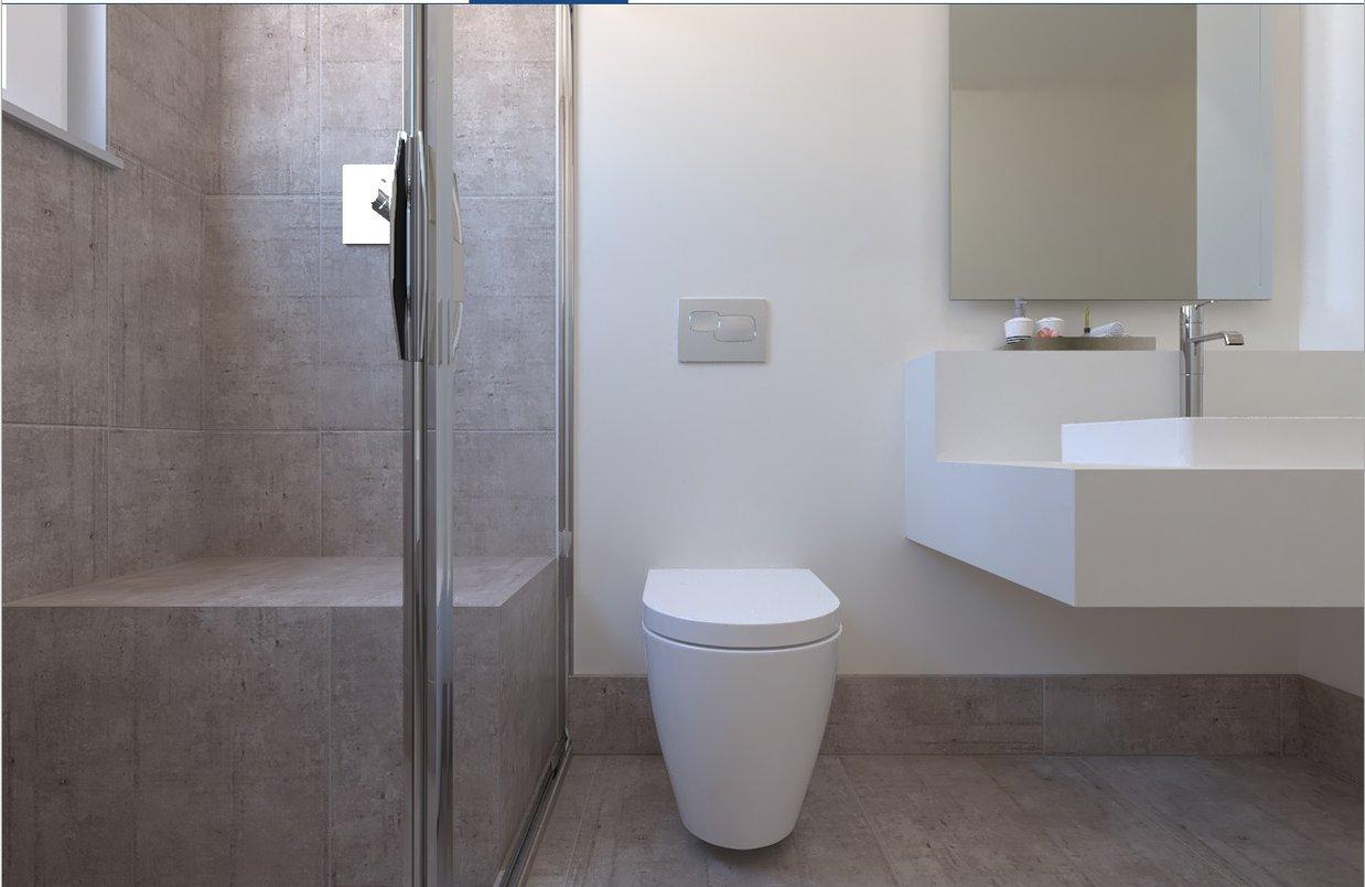 Banheiro contemporâneo mistura o clássico branco à modernidade do concreto. Metais Doco.l