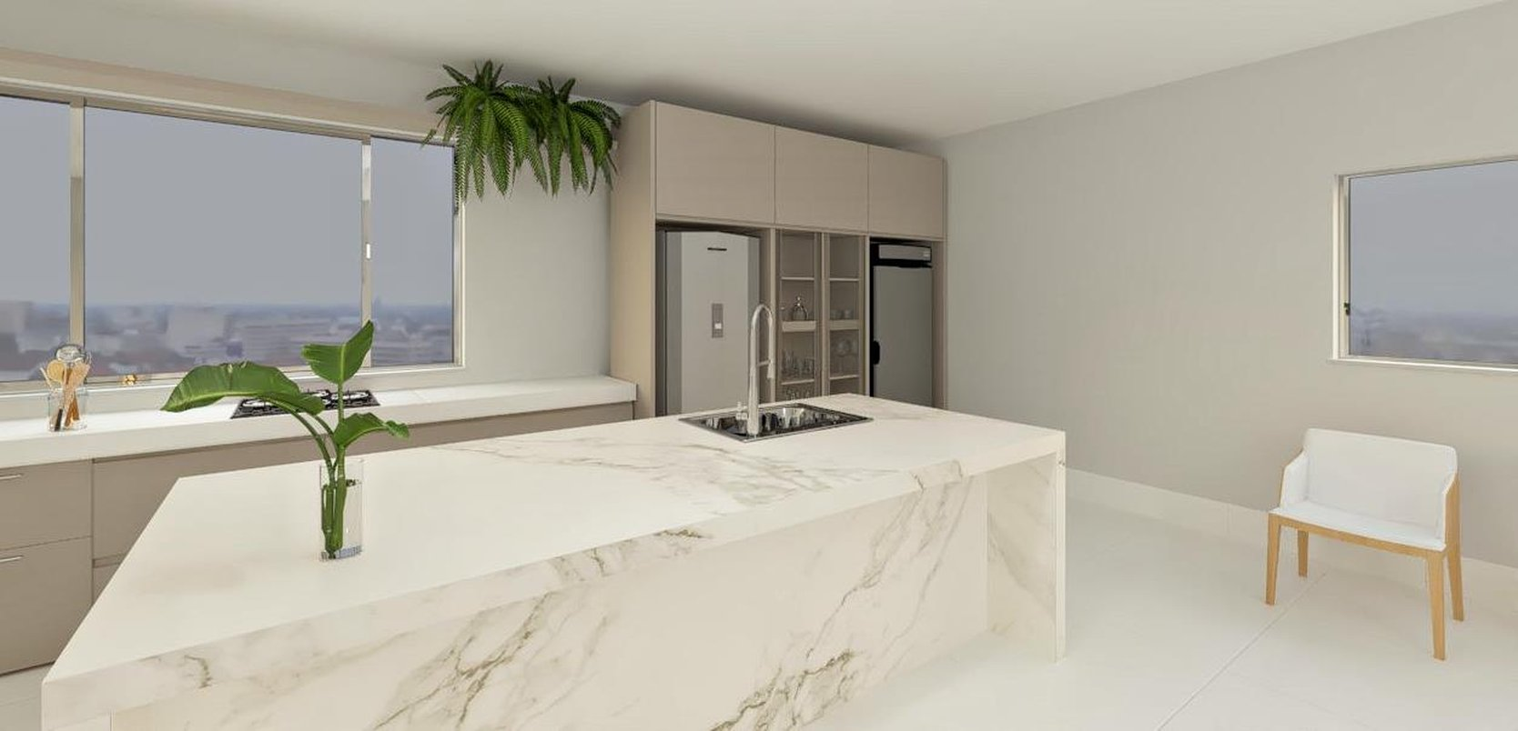 Cozinha gourmet com ilha central feita na lastra 120x240