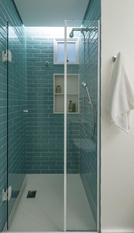 Banheiro do Apto Jardim Paulista com detalhes em Liverpool Acquamarine