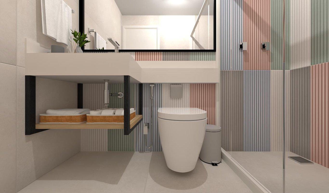 Um banheiro ousado e criativo que remete ao lúdico com suas cores e formas. Neste Banheiro foi usada a linha Color Block juntamente com o neutro do Foggy bianco natural.