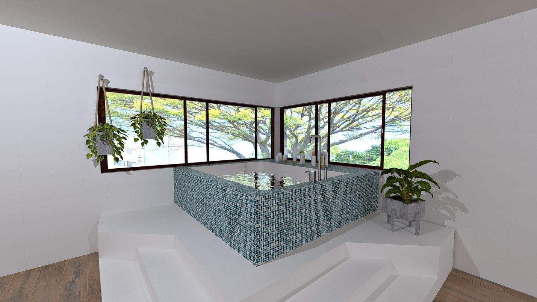 Linda área de spa em projeto residencial, em duas opções de paginação de pastilhas Artesanal Mix Turquoise.