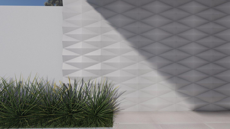 Projeto de fachada desenvolvido com o uso dos produtos da linha Berliner e Gavea.