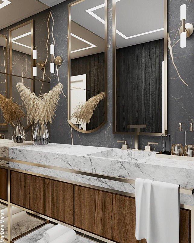Lavabo para quem ama a combinação de tons escuros com detalhes em gold ❤️✨ Além do espelho duplo na cuba, nesta proposta também temos a parede lateral inteira espelhada.