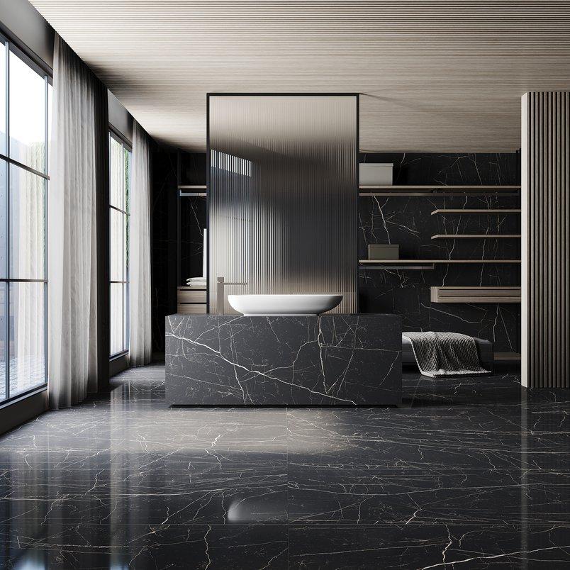 Banheiro com Nero Venato, vista 2
