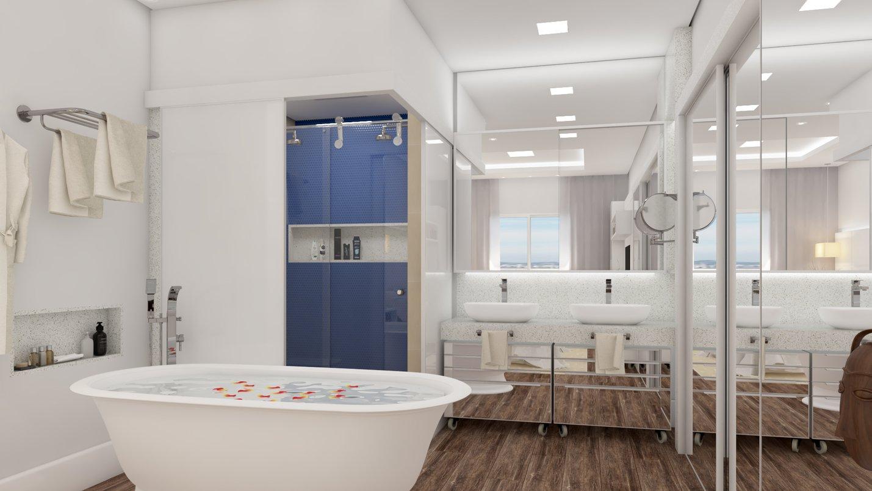 Nas paredes do banheiro o revestimento Dots Azul e o azulejo Colorless Sand, ambos da Portobello, compõem perfeitamente com o piso Ecowood Canela.