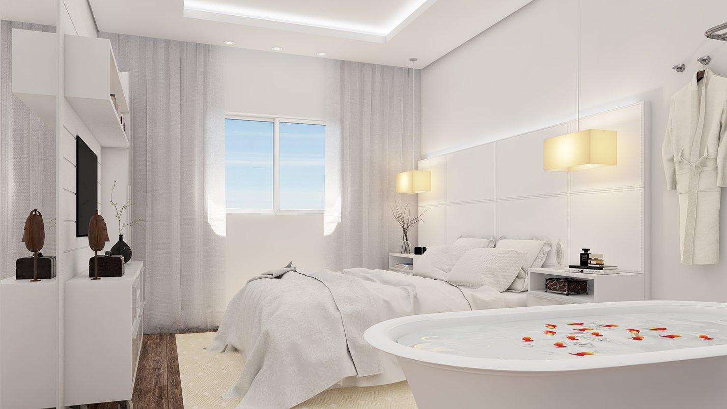 A imponente cabeceira em couro branco com grandes pendentes laterais conferem amplitude ao ambiente graças ao pé-direito alto.