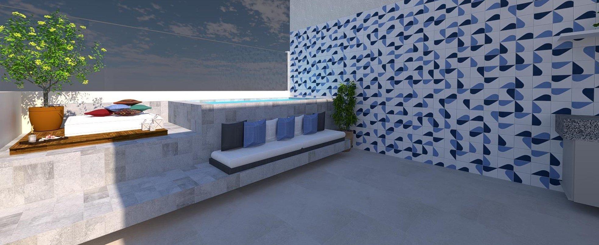 Projeto para área externa com revestimentos da Portobello. Um mix de cores e sensações.