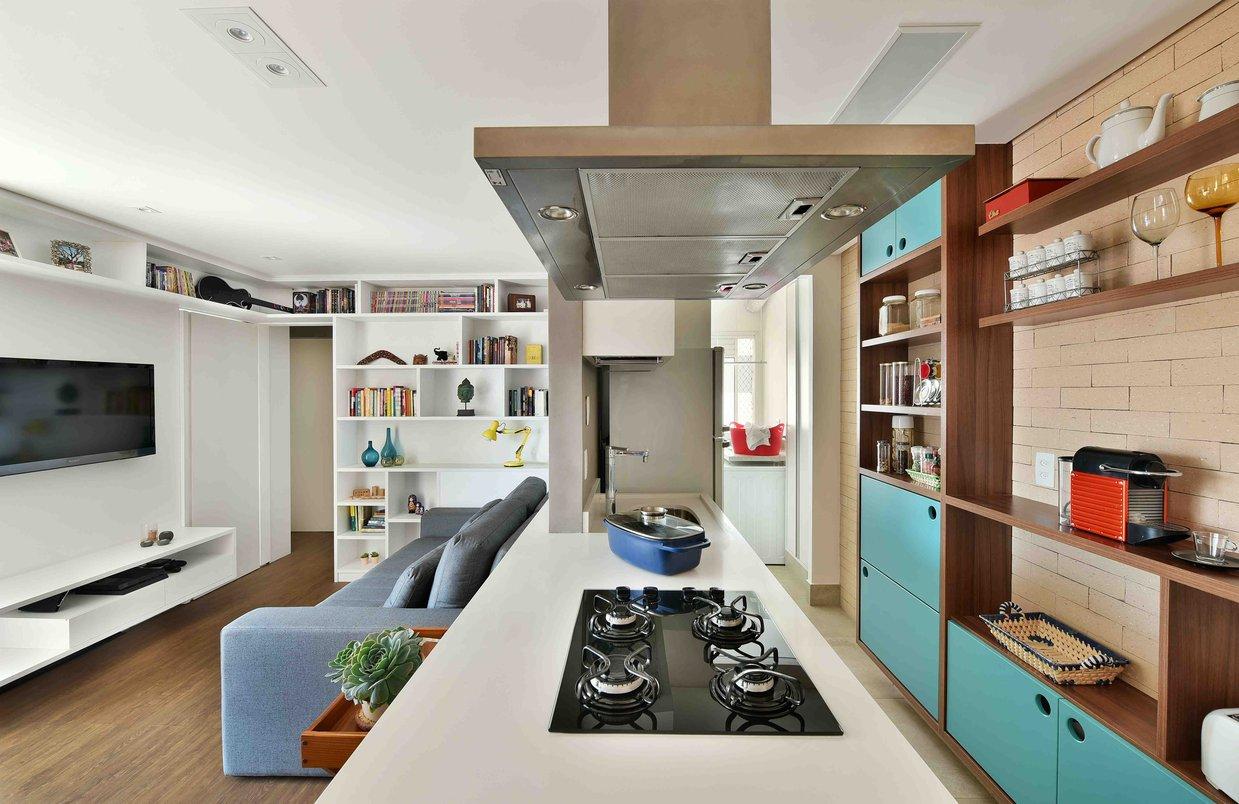 Sala integrada à cozinha