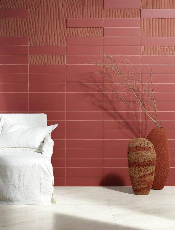 Detalhe na parede com argamassa colorida Arizona.