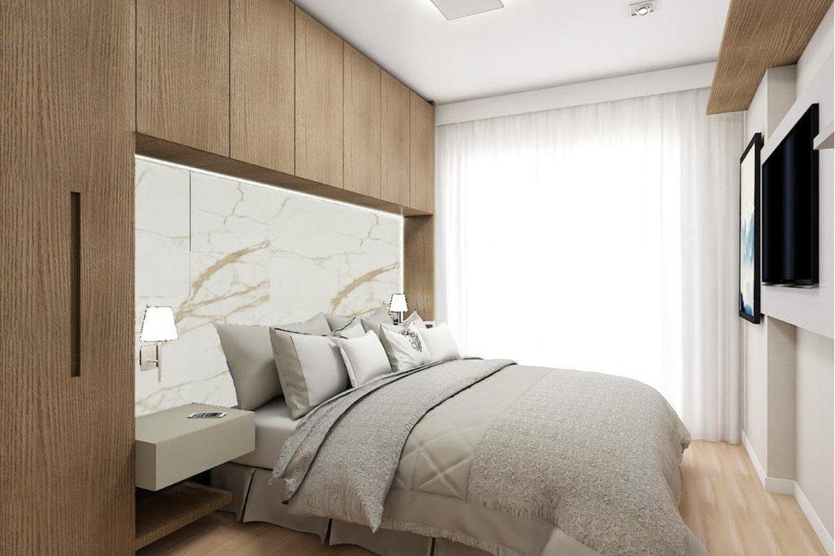 Suite Master com painel em Porcelanato Oro Bianco
