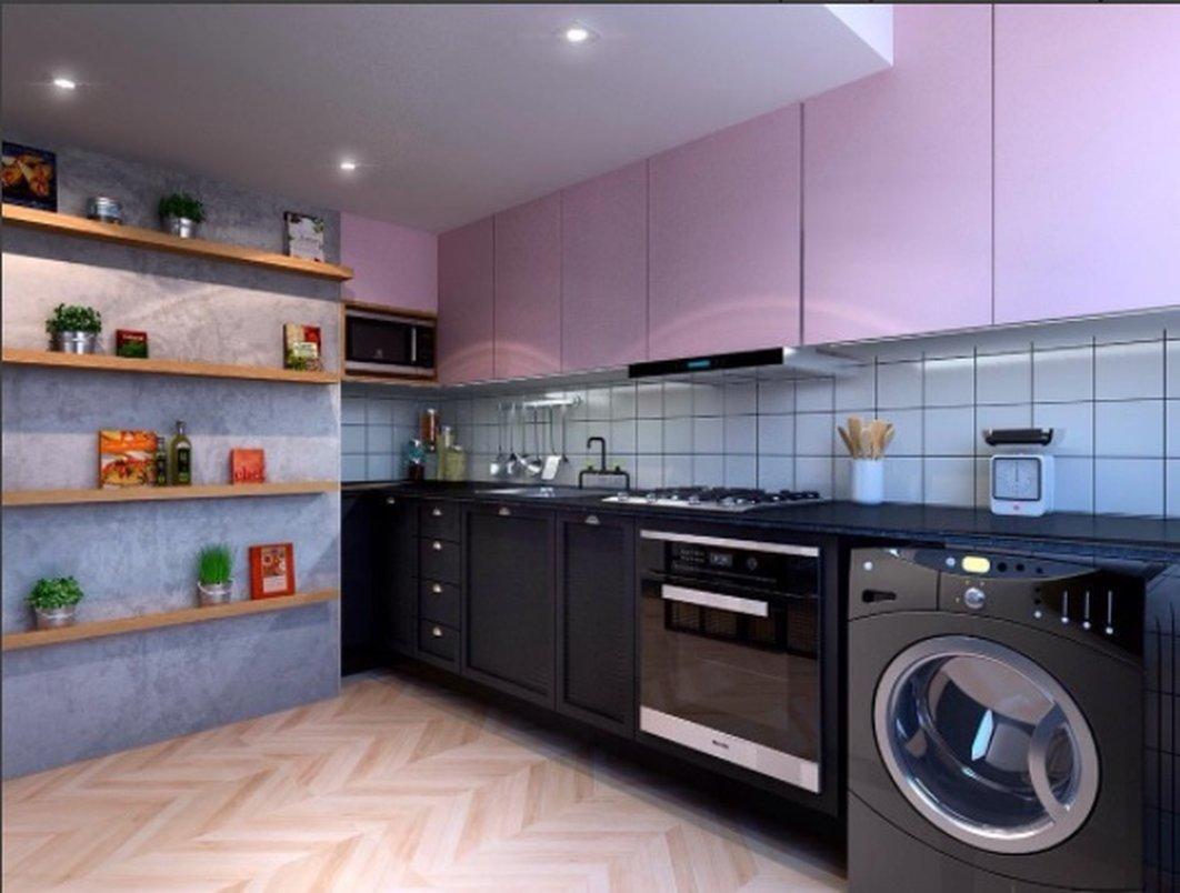 Nessa cozinha compacta trouxemos o mesmo piso em porcelanato da sala para dentro do ambiente aumentando a integração entre os dois espaços.
