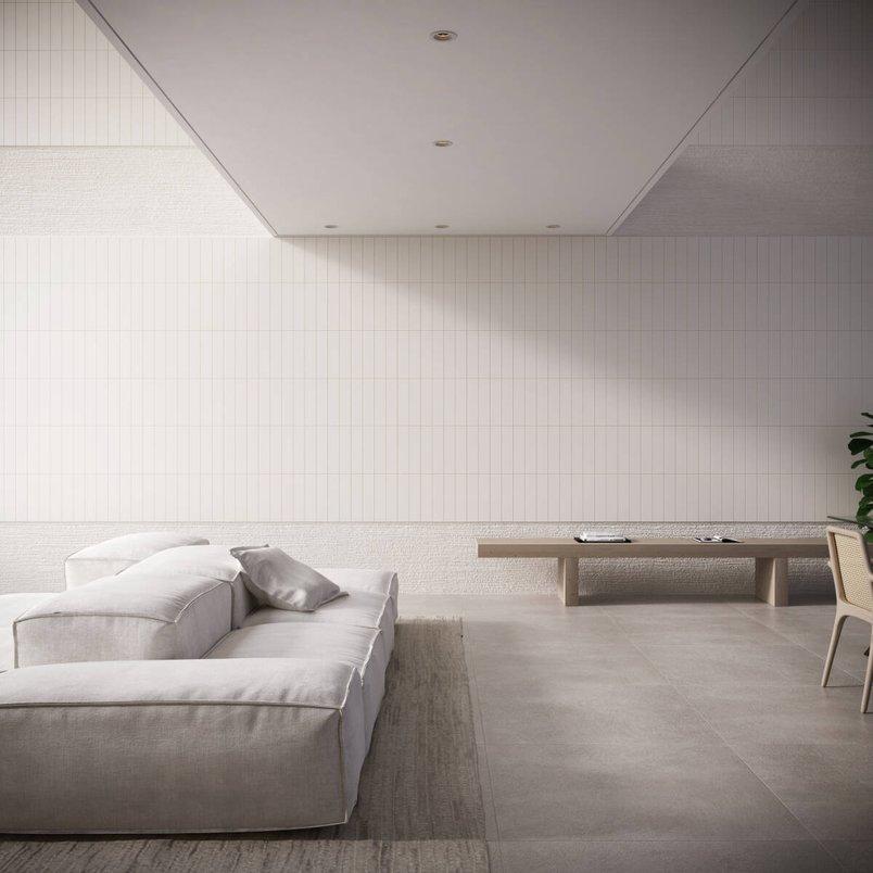 Sala minimalista branca.